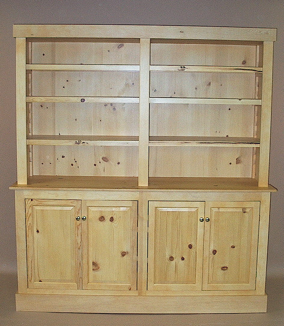 Luxury Vintage Step Back Cupboard Knotty Pine Small Hutch Wooden